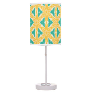 Ikat Yellow and Teal Print Desk Lamp