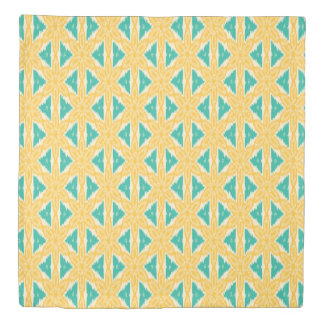 Ikat Yellow and Teal Print Duvet Cover