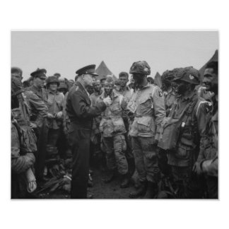 Ike Talking With Airborne On D-Day Poster