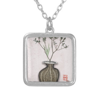 Ikebana 4 by tony fernandes silver plated necklace