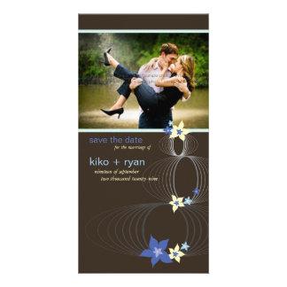 Ikebana Frangipani Blue Tropical Flower Wedding Personalized Photo Card