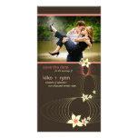 Ikebana Frangipani Pink Tropical Flower Wedding Photo Card Template
