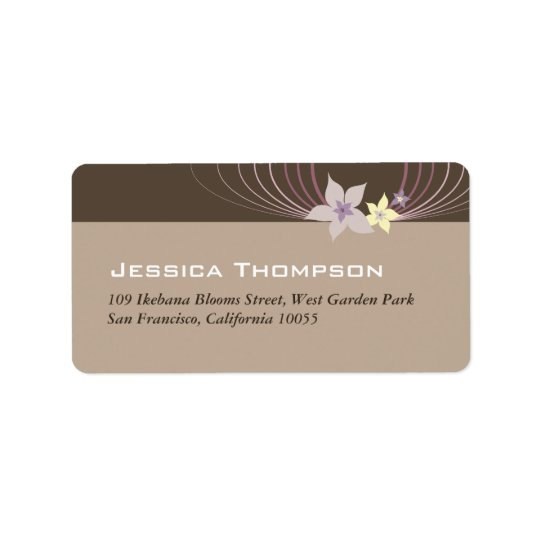 Ikebana Frangipani Purple Tropical Flowers Wedding Label