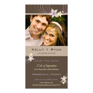 Ikebana Frangipani Purple Tropical Flowers Wedding Photo Cards
