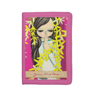 Ikeda Shuzo Flower Curtain young kawaii girl art Tri-fold Wallet