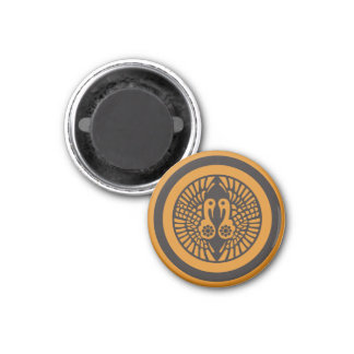 Ikko Ikki Mon Japanese clan black on yellow Magnet
