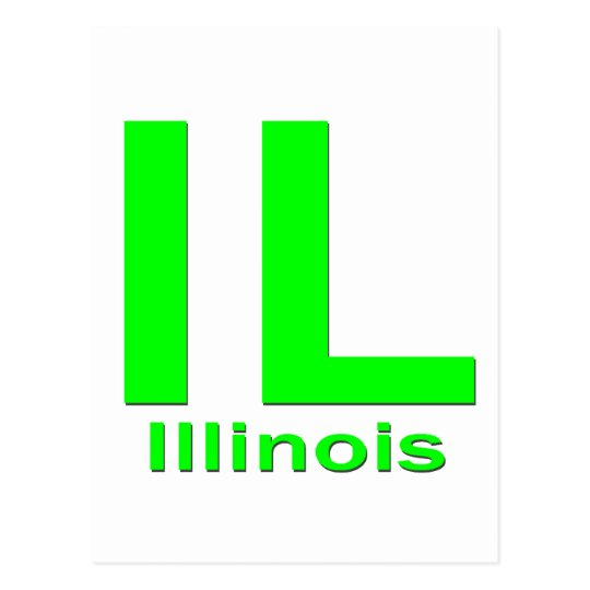IL Illinois plain green Postcard
