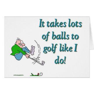 Il prend beaucoup de boules pour jouer au golf com cartes