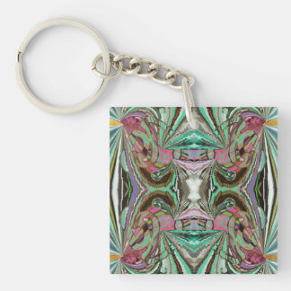 Iland Temple Abstract Single-Sided Square Acrylic Keychain