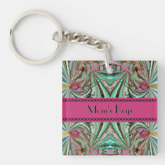 Iland Temple Abstract with Your Name Double-Sided Square Acrylic Keychain