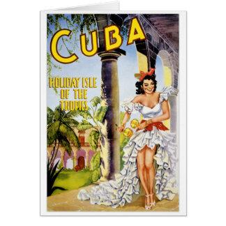 Île de vacances du Cuba du poster vintage de Carte De Vœux