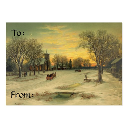 I'LL BE HOME FOR CHRISTMAS GIFT TAG BUSINESS CARD TEMPLATE