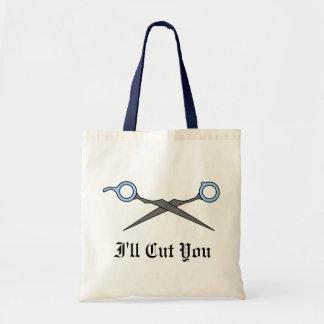 I'll Cut You (Blue Hair Cutting Scissors) Tote Bag