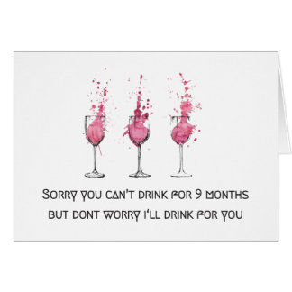 I'll Drink for Two Baby Shower Congratulations Car Card