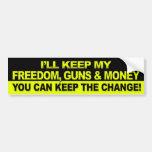 I'll Keep My Freedom, Guns & Money - Obama Bumper Stickers