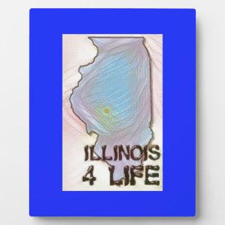 """""""Illinois 4 Life"""" State Map Pride Design Plaque"""