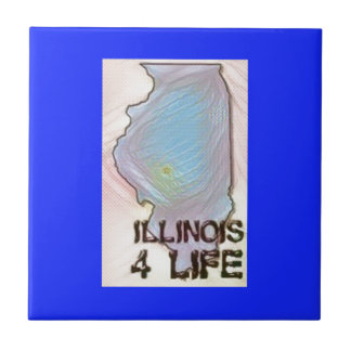 """Illinois 4 Life"" State Map Pride Design Tile"