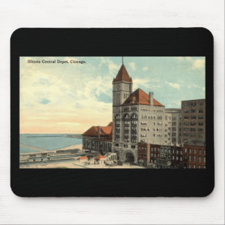 Illinois Central Depot Chicago Repro Vintage 1913 Mouse Pad