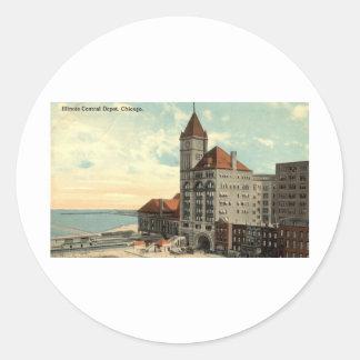 Illinois Central Depot Chicago Repro Vintage 1913 Round Sticker
