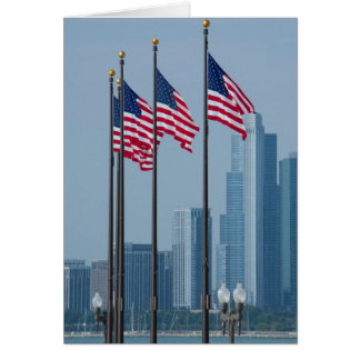 Illinois, Chicago. Navy Pier, US flags flying Card