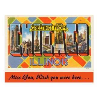 Illinois, Greetings from Chicago Postcard
