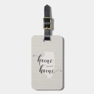 Illinois - Home Sweet Home burlap-look Luggage Tag