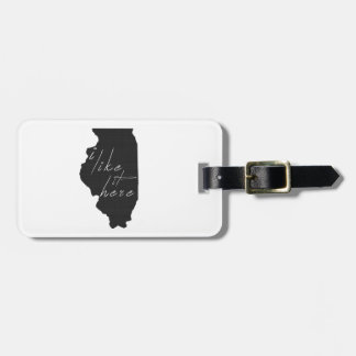 Illinois I Like It Here State Silhouette Black Luggage Tag