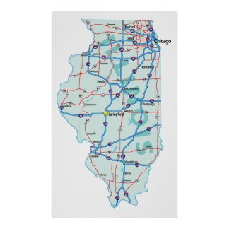 Illinois Interstate Map Print