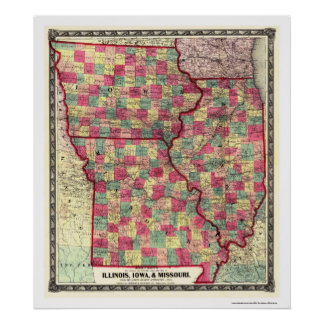 Illinois Iowa Missouri Railroad Map 1859 Poster