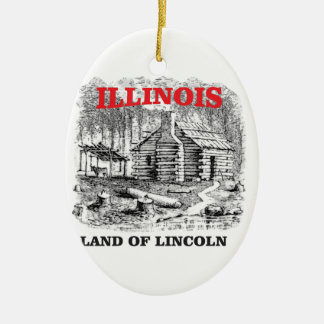 Illinois land of Lincoln Ceramic Ornament
