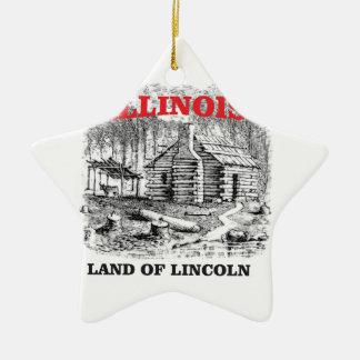 Illinois land of Lincoln Ceramic Ornament