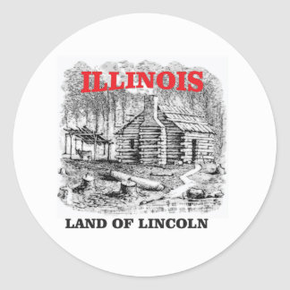 Illinois land of Lincoln Classic Round Sticker