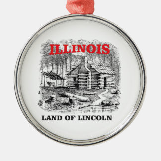 Illinois land of Lincoln Metal Ornament