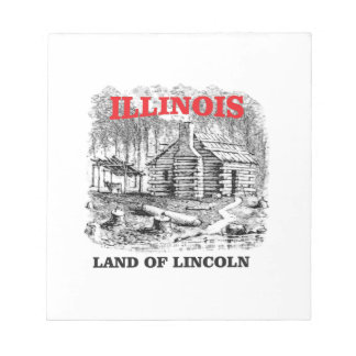 Illinois land of Lincoln Notepad
