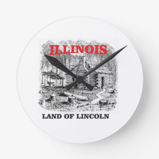 Illinois land of Lincoln Round Clock
