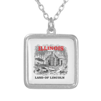 Illinois land of Lincoln Silver Plated Necklace
