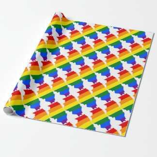 Illinois LGBT Flag Map Wrapping Paper