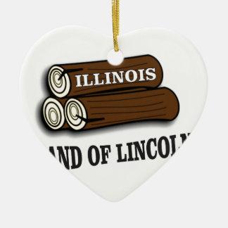 Illinois logs of Lincoln Ceramic Ornament