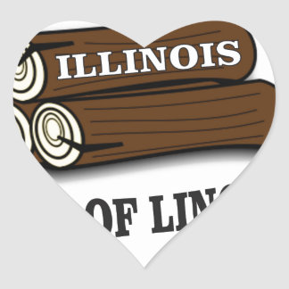 Illinois logs of Lincoln Heart Sticker