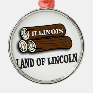 Illinois logs of Lincoln Metal Ornament
