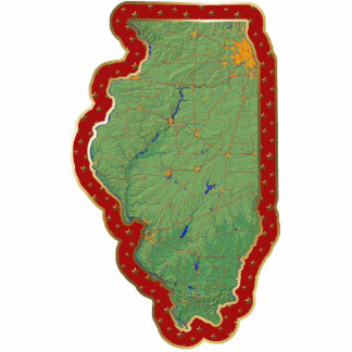 Illinois Map Christmas Ornament Cut Out