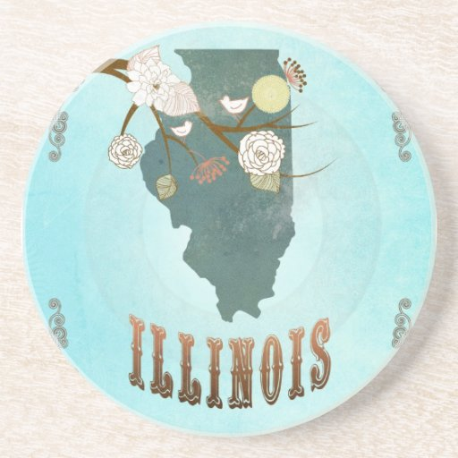 Illinois Map With Lovely Birds Drink Coasters