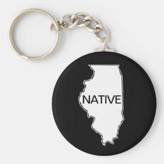 Illinois Native Black White Keychain