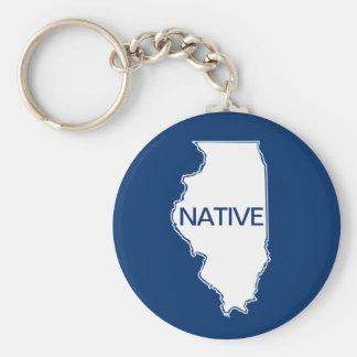 Illinois Native Blue White Keychain