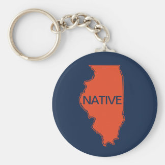 Illinois Native Navy Orange Keychain