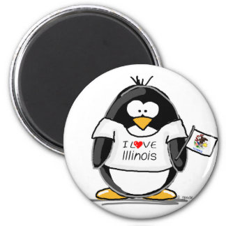 Illinois Penguin 2 Inch Round Magnet