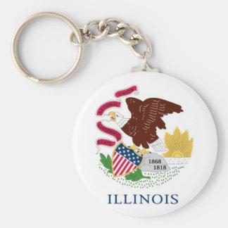 Illinois State Flag Basic Round Button Keychain