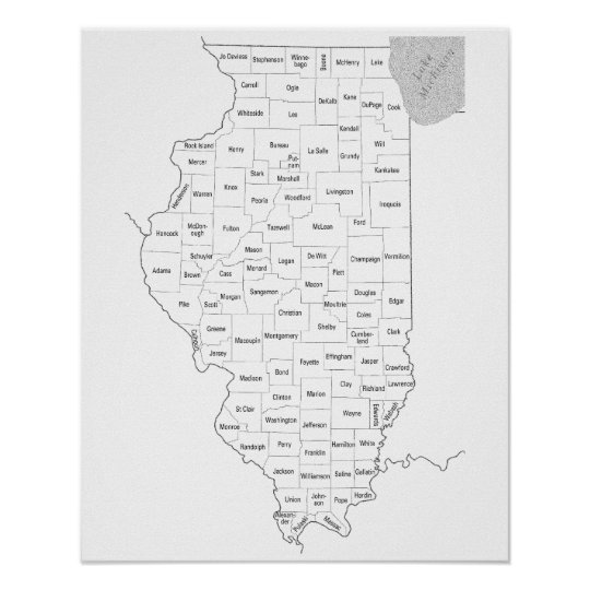 Illinois state outline map with counties poster