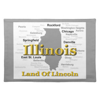 Illinois State Pride Map Silhouette Placemat