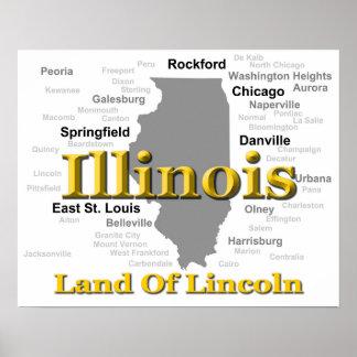 Illinois State Pride Map Silhouette Poster